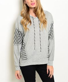 This Gray & Charcoal Stripe Panel Hoodie by Forever Lily is perfect! #zulilyfinds