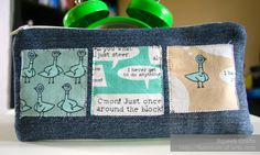 Pencil case made from recycled jeans + Don't let the pigeon drive the bus fabric