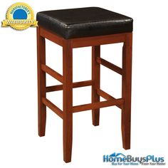 """Cherry"" Square Backless Bar Stool with Black Bonded Leather Seat -  Barstool.  $99.00"