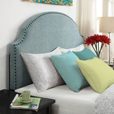 Full/Queen size Nailhead Upholstered Headboard in Soft Turquoise Linen Fabric - Quality House