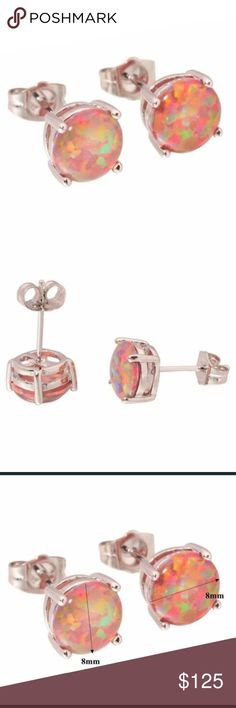 Opal studs Fire opal studs in ss925 Jewelry Earrings