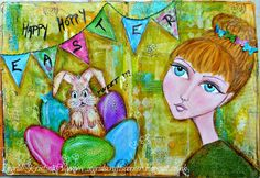 Easter Art Journaling with Dylusions, whimsical drawing by Ingrid Kristina V  Visit the blog for more info! x