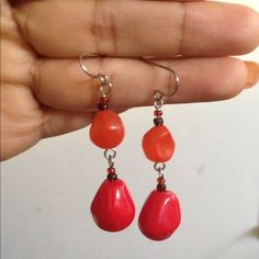 Boho Earrings Handcrafted bead earrings; orange and red beads Jewelry Earrings