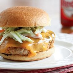 Buffalo Turkey Burgers with Blue Cheese Broccoli Slaw Recipe