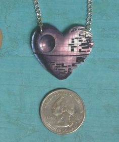Star Wars Death Star Heart Necklace. $10.00, via Etsy.