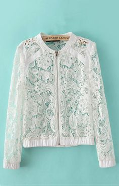 Shop Long Sleeves Lace Coat at ROMWE, discover more fashion styles online. Lace Jacket, Mesh Jacket, Lace Tops, Crochet Lace, Timeless Fashion, Dress Patterns, Blouse Designs, White Lace, Lace Shorts