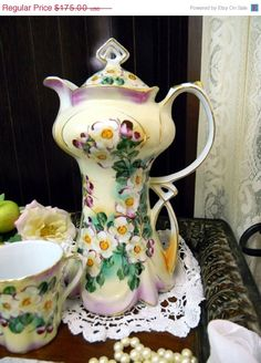 ON SALE Stunning Chocolate Pot - Ornate Vintage Coffee Pot - 4 Demitasse Mugs 9758