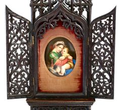 """14"""" Antique Catholic Altar, Black Forest Carved Wood with Porcelain Plaque of Virgin Mary"""