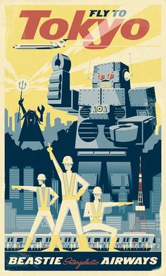 Cool Retro Posters: Retro Poster by Eric Tan: Fly to Tokyo