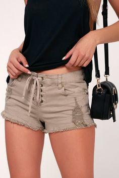 Lite Hearted Taupe Lace-Up Cutoff Denim Shorts – Lulus Casual Shorts, Denim Shorts, Cut Off, Hippie Style, Billabong, 90s Fashion, Stretch Denim, Cute Dresses, Taupe