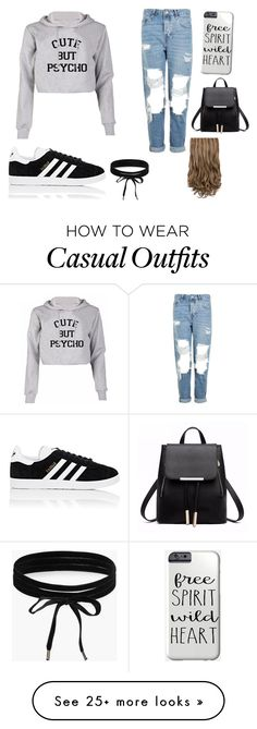 """Casual"" by laura1402 on Polyvore featuring Topshop, adidas and Boohoo"