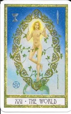 The universe resounds with the joyful cry I AM.-Scriabin The Druid Craft Tarot-Key World, is a very attractive pagan rendition of the traditional tarots, such as the Rider-W The World Tarot Card, Tarot Decks, Tarot Cards, Tattos, Pagan, Wands, The Dreamers, Irish, Universe
