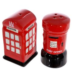 Telephone and Letterbox Salt and Pepper Ceramic by getgiftideas