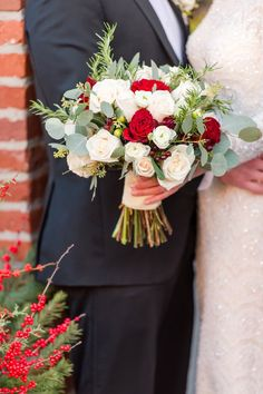 Wedding Bouquets : Picture Description Rose and eucalyptus wedding bouquet: Photography : Tina Jay Photography Read More on SMP: Winter Wedding Flowers, Flower Bouquet Wedding, Red Wedding, Winter Weddings, Wedding Stuff, White Flower Arrangements, Bouquet Photography, Eucalyptus Wedding, Wedding Honeymoons