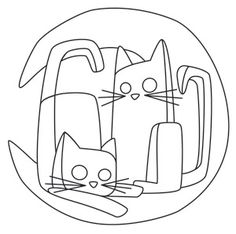 Crescent Moon Kitties   Urban Threads: Unique and Awesome Embroidery Designs