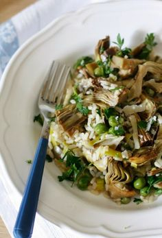 rice peas and artichokes with parsley