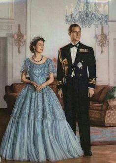 A Rainha Elizabeth II e seu marido, o Príncipe Philip na juventude.