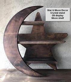 Moon shelf Star and Moon decor Star shelf Wood oil shelf Diy Wood Projects, Home Projects, Crystal Shelves, Moon Decor, Wooden Crafts, Woodworking Crafts, Woodworking Plans, Wood Furniture, Wood Art