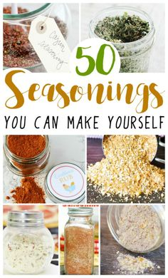 Easy Homemade Seasonings 50 Homemade Seasonings and Spice Rubs - great for grilling, breads and so many more of your favorite recipes! via Homemade Seasonings and Spice Rubs - great for grilling, breads and so many more of your favorite recipes! Homemade Spices, Homemade Seasonings, Homemade Dry Mixes, Homemade Spice Blends, Homemade Ranch Seasoning, Homemade Food Gifts, Diy Food Gifts, Homemade Things, Homemade Cheese