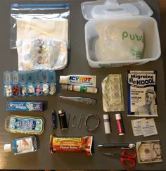 Car pack.  Everything you might just need when your out. Fits nicely in a baby wipe container!