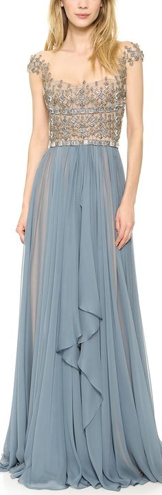 Reem Acra Embroidered Illusion Drop Shoulder Gown Blue Smoke