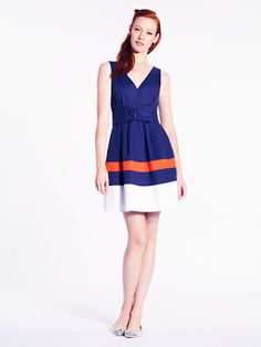 Navy and orange such a good color combo! Sawyer dress by Kate Spade