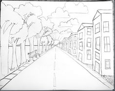One Point Perspective for elementary kiddos, Thank you smART Class!  http://elementaryartfun.blogspot.com/2012/02/drawing-steps-for-one-point-perspective.html#