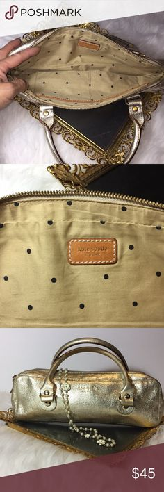 """Kate Spade Gold Baguette Purse Kate Spade Gold Baguette Purse EUC Gold Leather. Two Interior Pockets 4"""" Handle Drop. 12"""" w x 5"""" h x 2"""" d. Zip Top. Easily Holds Cellphone, Small Wallet, And more! Perfect for the Holidays or anytime of year! kate spade Bags Mini Bags"""
