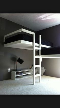 Cool bunk beds : this would be a cool idea if you weren't renting a place and/or able to be made removable installation that's stable.