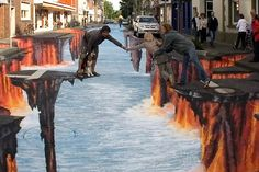 It's the apocalypse!!!!!!!!!  Oh wait, I was wrong, it's just street chalk art.  This guys is so freakin' talented