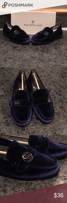 Bandolino shoes Brand new Bandolino loafers in a beautiful navy, velvet like texture. Bandolino Shoes Flats & Loafers