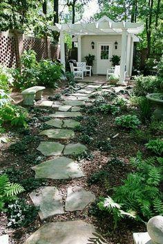Shade garden- flagstone path to shed Garden Structures, Garden Paths, Garden Sheds, Diy Garden, Garden Planters, Small Garden Path Ideas, Cheap Garden Ideas, Walkway Garden, Rocks Garden