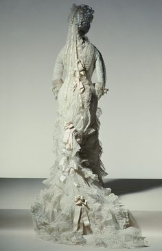 highvictoriana:    White linen organdy and Valenciennes lace wedding gown, c. 1880. Courtesy of the Kyoto Costume Institute.