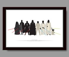 For serious Star Wars Fans, A beautiful minimalist Sith Lords and Jedi Masters poster from BigTime.    Regular Price $19.99 - Now $14.99 - For 1