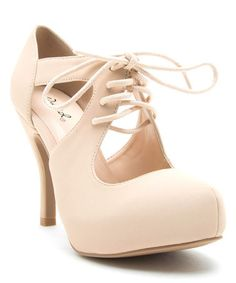 Loving this Nude Trench Lace-Up Pump on #zulily! #zulilyfinds