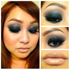 Dark smokey dramatic makeup.