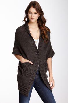 Love Stitch Dolman Sleeve Draped Sweater in Black | Hautelook