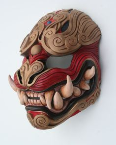 Japanese Demon Oni mask made out of wood and red and brown. Japanese Demon Oni mask made out of wood and red and brown. Mascara Oni, Hannya Maske, Ronin Samurai, Japanese Mask, Red Color Schemes, Fu Dog, Art Japonais, Cool Masks, Masks Art