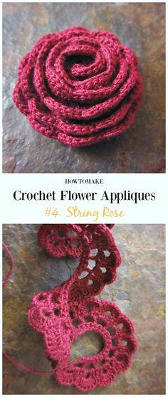 Strip Rose Flower Free Crochet Pattern-Easy #Crochet #Flower Appliques Free Patterns