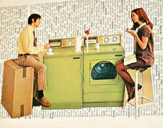 Couple Eating on Vintage Washer and Dryer - Framed