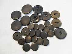 Antique / Vintage Lot of 29 Black Buttons Goodyear by KathiJanes