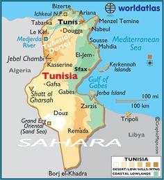 Tunisia, a north African country, sits between Algeria and Libya. The population is mostly Arab, Berber and Turkish descent. The country has a Jewish population dating back 2,000 years. Arabic is the official language; French is also used in education.