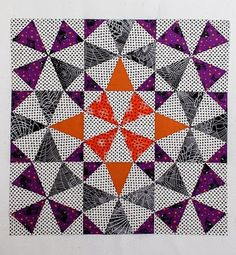 = tutorial = Halloween Medallion quilt.  Made with a kaleidoscope ruler by Christina from Sometimes Crafter.    Posted at Sew in Love {with fabric}