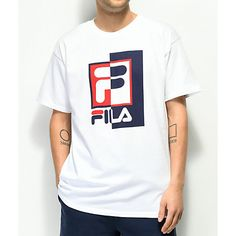 Complete your athleisure attire with Rexton White T-Shirt from FILA. This classic garment features a classic navy and red FILA logo at the chest of a white cotton short sleeve tee. New Style T Shirt, Cool T Shirts, Tee Shirts, Athleisure Fashion, Fashion Updates, Tee Design, Cotton Shorts, Branded T Shirts, Short Sleeve Tee