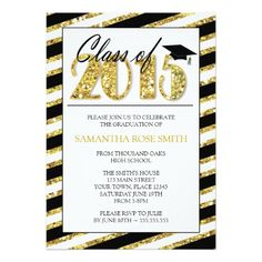 Blush Pink Gold Graduation Party Invitation Glitter College