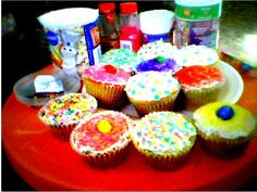 blurry...but my one day late Easter cupcakes.