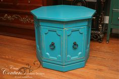 teal octagon table ~ no.13053 ~ $199 ~ 28.5L x 28.5D x 23H ~ Flat-rate shipping to any of the lower 48 states for 150