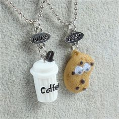 Wallmart.win High Quality Cute Best Friends Pendant Beads Chain Necklace Fast Food Milk Cookie Coffee Biscuit Charms Kids Jewelry 2pcs/set:…