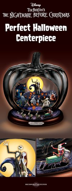 "Celebrate a movie masterpiece this Halloween when you ghoulishly grace your home with the first-of-a-kind Disney The Nightmare Before Christmas Pumpkin Sculpture. Handcrafted of art glass, this spooky centerpiece lights up at the flick of a switch to reveal a fully-dimensional scene inside the pumpkin, while Jack and his Coffin Sleigh go 'round and 'round. It even plays ""This Is Halloween."" It's a must for fans!"