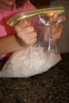 Ice Cream in a Bag This is SOOO easy… and delicious! In a small Ziplock bag, put: 1/2 C. half and half (milk works too) 1 Tbps. sugar 1 tsp. vanilla Insert that bag into a larger, one gallon Ziplock filled with ice and salt. Shake the bag for five minutes. Kids love that part! Then, remove the smaller bag which should have turned into ice cream. I did this in elem school and have been looking every where for it!